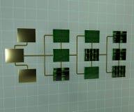 Абстрактная иллюстрация сети 3d соединения Структура топологии сети Преобразование данных стоковая фотография