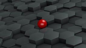 Абстрактная иллюстрация черных шестиугольников различного размера и красного шарика лежа в центре Идея уникальности перевод 3d иллюстрация штока