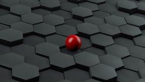 Абстрактная иллюстрация черных шестиугольников различного размера и красного шарика лежа в центре Идея уникальности перевод 3d иллюстрация вектора