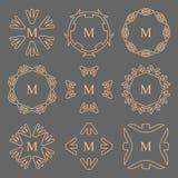 Абстрактная линия установленные логотипы стрелки вензеля рамки Стоковые Фото