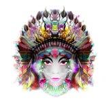 Абстрактная и мистическая сторона женщины в маске Стоковое Изображение RF