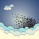 Абстрактная иллюстрация летящих птиц предпосылки Стоковые Фотографии RF