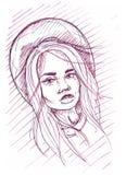 Абстрактная иллюстрация красивой девушки моды на белой предпосылке Стоковое фото RF