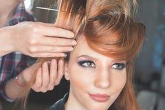 абстрактная иллюстрация стиля причёсок способа знамени женщина с ручкой ножницы салона штырей волос Стоковое Изображение RF