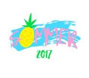 Абстрактная иллюстрация с ананасом лета и шаржа текста на белой предпосылке Печать для футболок вектор иллюстрация штока