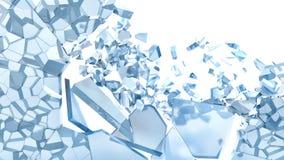 Абстрактная иллюстрация сломленного синего стекла изолированная на белизне Стоковое Фото