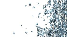 Абстрактная иллюстрация сломленного синего стекла на белизне Стоковое Изображение RF