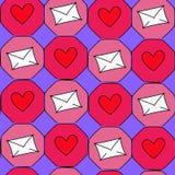 Абстрактная иллюстрация с сердцами и конвертами Стоковое Изображение RF