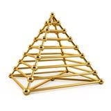 Абстрактная иллюстрация 3d золотой пирамидки иллюстрация вектора
