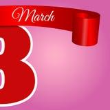Абстрактная иллюстрация eps 10 Красного знамени пинка 8-ое марта Стоковое Фото