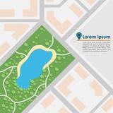абстрактная карта города также вектор иллюстрации притяжки corel Стоковое Изображение RF