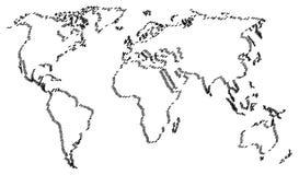 Абстрактная карта мира изолированная на белой предпосылке иллюстрация вектора
