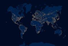 Абстрактная карта мира ночи Стоковое Изображение RF