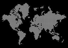Абстрактная карта мира сделанная точек Белый мир точки на черной предпосылке иллюстрация вектора