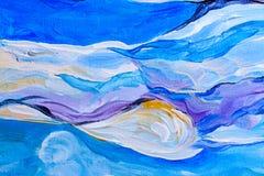 Абстрактная картина акварели, картина гуаши на бумажной текстуре Стоковая Фотография
