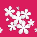 Абстрактная картина бумажного цветка 3d на розовой красной предпосылке Иллюстрация штока