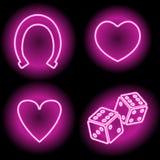 Абстрактная картина вектора с неоновыми накаляя сердцами, подковой и костью иллюстрация вектора