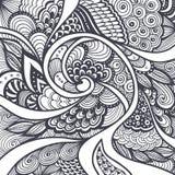 Абстрактная картина в стиле Дзэн-doodle Дзэн-путать черным по белому Стоковое Изображение