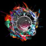 Абстрактная картина искусства grunge космической техники Стоковое Изображение RF