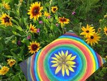 Абстрактная картина маслом на холсте в парке лета YellowAbstract painring на холсте Стоковое Изображение RF