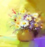 Абстрактная картина маслом цветка весны Натюрморт белого gerbera, маргариток Стоковые Изображения RF
