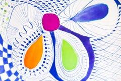 Абстрактная картина на silk батике Стоковая Фотография