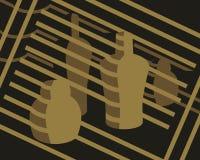 Абстрактная картина с бутылками и нашивками Стоковое Изображение