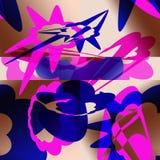 Абстрактная картина с голубыми и розовыми элементами иллюстрация штока