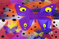 Абстрактная картина с красочными бабочками бесплатная иллюстрация
