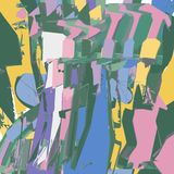 Абстрактная картина с красочными линиями и кривыми иллюстрация вектора