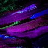 Абстрактная картина с фиолетовыми лимандами смазывает на холсте, иллюстрации, Стоковое фото RF