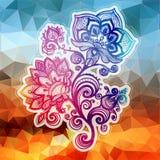 Абстрактная картина с цветками элементов и геометрической формой. Стоковые Фотографии RF