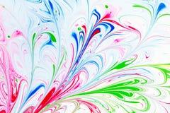 Абстрактная картина, традиционное искусство Ebru Краска чернил цвета с волнами вектор детального чертежа предпосылки флористическ Стоковое фото RF