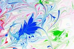 Абстрактная картина, традиционное искусство Ebru Краска чернил цвета с волнами вектор детального чертежа предпосылки флористическ Стоковые Изображения RF