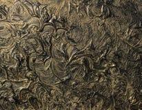 абстрактная картина холстины Черные цвета и золото Справочная информация стоковые фотографии rf
