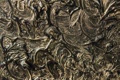 абстрактная картина холстины Черные цвета и золото Справочная информация стоковая фотография rf