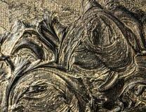 абстрактная картина холстины Черные цвета и золото Справочная информация стоковое фото rf