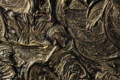 абстрактная картина холстины Черные цвета и золото Справочная информация стоковое фото