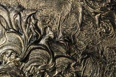 абстрактная картина холстины Черные цвета и золото Справочная информация стоковые изображения rf