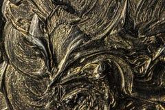 абстрактная картина холстины Черные цвета и золото Справочная информация стоковое изображение