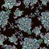 абстрактная картина цветков безшовная Doodle, эскиз Черно-белые цветки на предпосылке шарлаха Для дизайна ткани, ткань бесплатная иллюстрация
