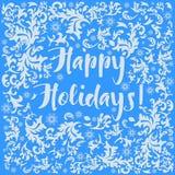 Абстрактная картина льда зимы рождества с снежинками на голубой предпосылке также вектор иллюстрации притяжки corel Стоковые Фото