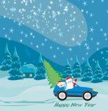 Абстрактная карточка при Санта Клаус управляя автомобилем иллюстрация штока