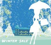 Абстрактная карточка - продажа зимы Стоковые Изображения RF