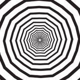 Абстрактная квадратная предпосылка с полигональными черно-белыми свирлью, винтовой линией или вортексом Фон с психоделический вра иллюстрация штока
