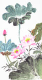 абстрактная китайская картина лотоса традиционная Стоковое фото RF