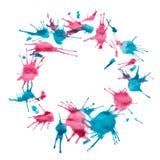 Абстрактная красивая акварель голубых/пинка покрасила круг с космосом экземпляра Стоковое Изображение