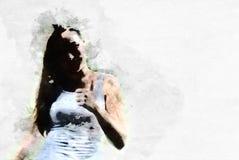 Абстрактная красивая картина акварели стороны девушки и портрета тела бесплатная иллюстрация