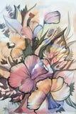 Абстрактная красивая картина цветет листья Стоковое Изображение RF