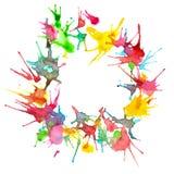 Абстрактная красивая смешанная акварель цветов покрасила круг с космосом экземпляра иллюстрация вектора